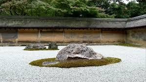 details of the beautiful rock garden at ryoan ji temple a zen
