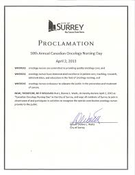 2013 proclamations oncology nursing day