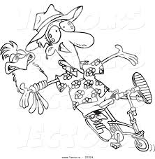 vector of a cartoon carefree man on a bike with a parrot