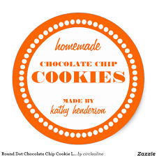 round dot chocolate chip cookie label template custom baking
