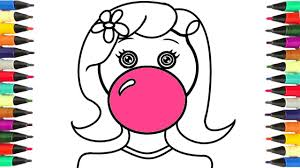 coloring pages with a bubble gum drawing art for kids to