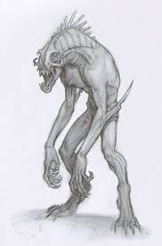 drawn monster demon pencil and in color drawn monster demon