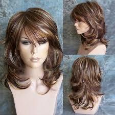 is island medium hair a wig 2018 medium oblique bang highlighted layered slightly curled