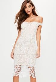 white dress white lace bardot midi dress missguided