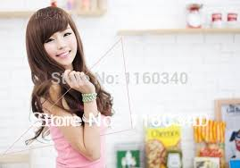 wigs for square faces cute girls oblique bangs long curls square face round face fluffy