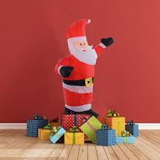 outdoor plastic lighted santa claus furniture costway airblown inflatable christmas santa claus