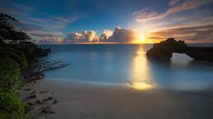 beaches sunset nature sea splendor clouds sun paradise