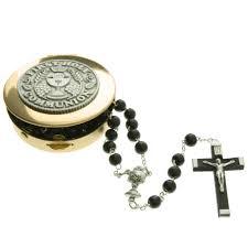 communion jewelry box communion black rosary and keepsake box the catholic company