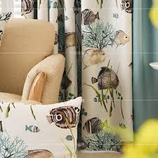 Blue And Yellow Curtains Prints Fish And Botanical Print Polyester Insulated Color Block Country