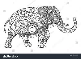 indian elephant coloring pages template illustration stock