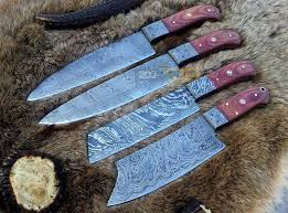 made kitchen knives custom damascus made kitchen knives set