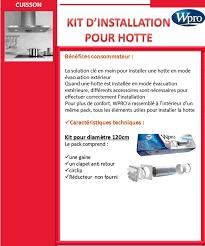 hotte de cuisine evacuation exterieure wpro uvk120 kit évacuation pour hottes achat vente pièce
