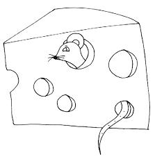 coloriage de la souris dans le fromage tête à modeler