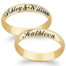 wedding rings with names 10k gold engraved name message band christmas