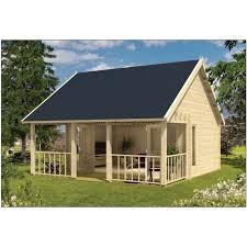 chalet bureau bureau de jardin studio kit bois holaug 30m2 terrasse couverte