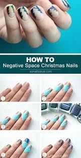 tutorial negative space christmas tree nails sonailicious