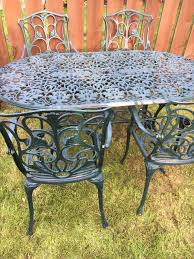 Cast Aluminium Outdoor Furniture by Stunning Ornate Green Cast Aluminium Garden Table And 4 Matching