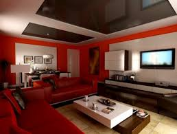 home decor red living room two tone painting idea with gray and white color