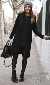 picture of with mini black dress printed tights mid calf boots