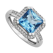 topaz engagement ring white gold cushion cut blue topaz and diamond ring