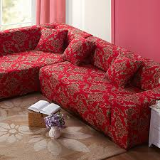Flexible Sofa Chinese Red Style Polyester Sofa Cover Big Elasticity Flexible