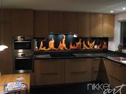 cuisine en verre crédence de cuisine en verre imprimé flamme