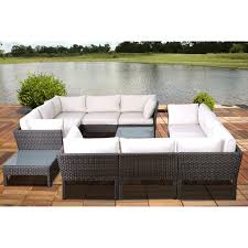 conversation set patio furniture crosley catalina 6 piece outdoor wicker curved conversation set