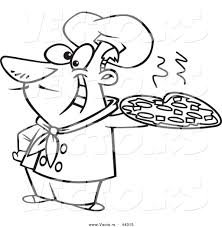 vector of a happy cartoon italian chef holding a pizza pie