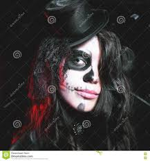 portrait of woman with gothic makeup smokey eyes stock photo