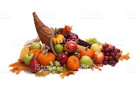 harvest cornucopia fall autumn or harvest cornucopia on a white back ground stock