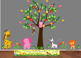 Decals For Walls Nursery Pink Elephant Zoo Animals Friends Wall Decal Sticker S21g Jungle