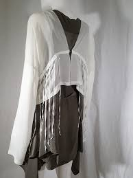 grey silk blouse demeulemeester white silk blouse with back fringes v a n ii