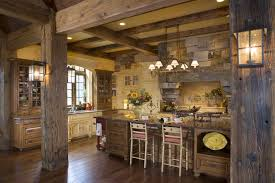 Wall Sconces Rustic Rustic Stone Kitchen Timber Posts Beam Ceilings And Wall Sconces