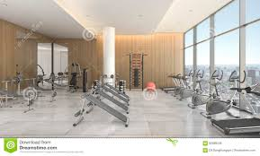 3d rendering modern wood gym and training room with city view
