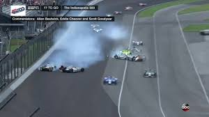 multi car crash in turn 4 late in the indy 500 knocks out multiple