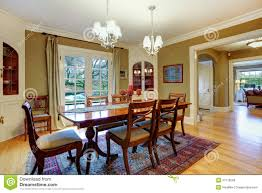 elegant furnished dining room with wooden rustic dining table se