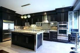 kitchen cabinets modern black dark brown with white island