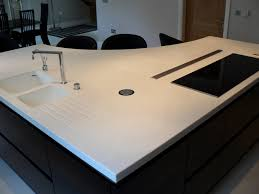 Corian Bathroom Worktops This Shaped Corian Worktop Features Seamless Sinks And Houses A