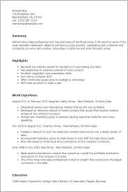 Sales Resumes Templates Professional Wine Sales Templates To Showcase Your Talent
