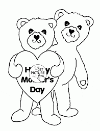 cute bears for mother u0027s day coloring page for kids coloring pages