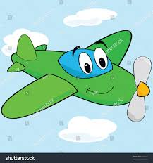 vector cartoon illustration cute airplane smiling stock vector