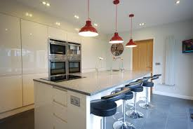 finished kitchen installation with cream gloss j section doors