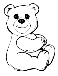 bears teddy bear heart coloring printable bear
