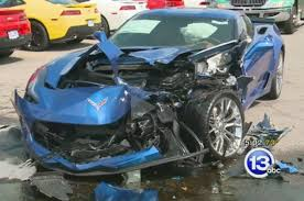 crashed lamborghini for sale pair of parked chevrolet corvette z06 coupes damaged in accident