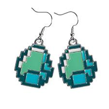 jinx minecraft diamond ore pendant earrings jewelry