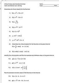 critical value extrema derivatives task cards hw worksheet
