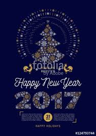 poster happy new year 2017 christmas tree holiday party flyer a4