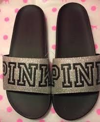 pink slides secret pink slides glitter silver size medium 7 8 new