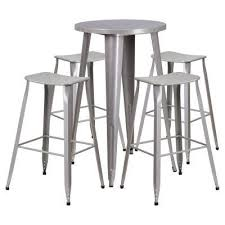 indoor outdoor counter height stool flash furnitur flash furniture 24 in round metal indoor outdoor bar table set with