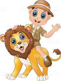 safari cartoon young boy in safari suit and wild lion cartoon stock vector art